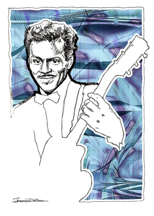 Chuck Berry Greeting Card featuring the painting Icons- Chuck Berry by Jerrett Dornbusch