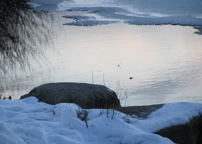 Snow Greeting Card featuring the photograph Icy Beach by Deborah Flusberg