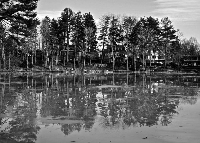 Icy Greeting Card featuring the photograph Icy Pond Reflects by Frozen in Time Fine Art Photography