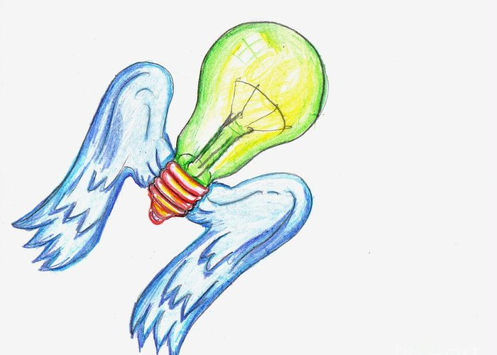 Idea Take Flight Greeting Card featuring the drawing Idea Takes Flight by Feile Case