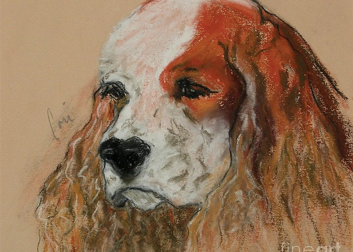 Dog Greeting Card featuring the pastel Idle Thoughts by Cori Solomon