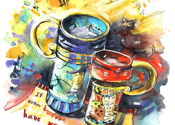 Cafe Crem Greeting Card featuring the painting If It Were Not For Caffeine by Miki De Goodaboom