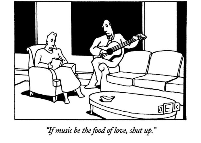 Leisure Greeting Card featuring the drawing If Music Be The Food Of Love by Bruce Eric Kaplan