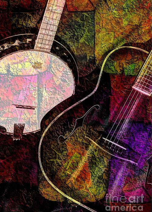 Acoustic Greeting Card featuring the photograph If Not For Color Digital Banjo And Guitar Art By Steven Langston by Steven Lebron Langston