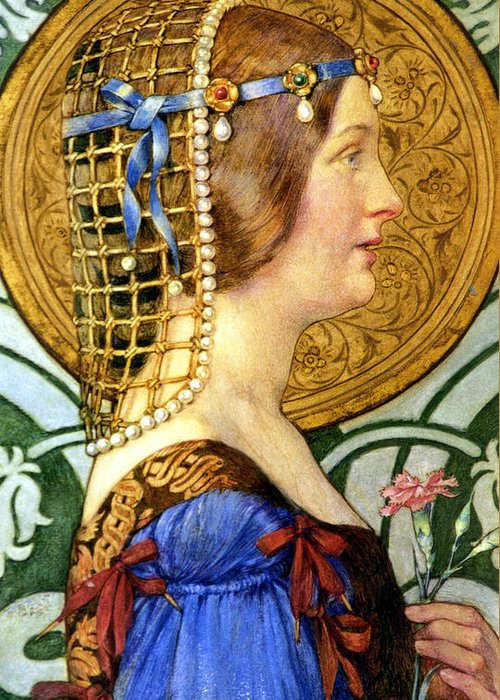 Old Masters Greeting Card featuring the digital art If One Could Have That Little Head Of Hers by Eleanor Fortescue Brickdale
