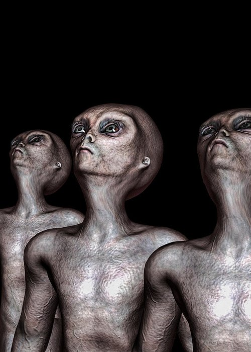 Alien Abduction Greeting Card featuring the digital art If One Was Three by Bob Orsillo