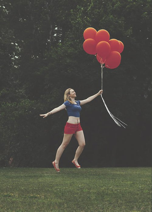 Floating Greeting Card featuring the photograph If Supergirl Needed Help by Andrew Ramdat