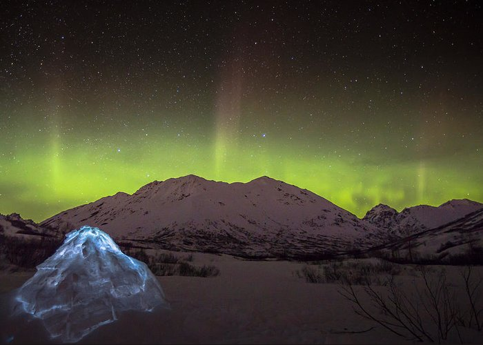 Sam Amato Photography Greeting Card featuring the photograph Igloo And Alaska Northern Lights by Sam Amato