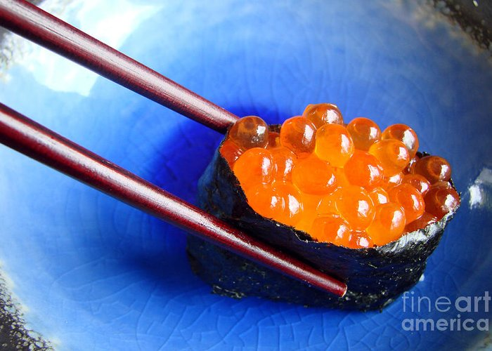 Sushi Greeting Card featuring the photograph Ikura by Delphimages Photo Creations