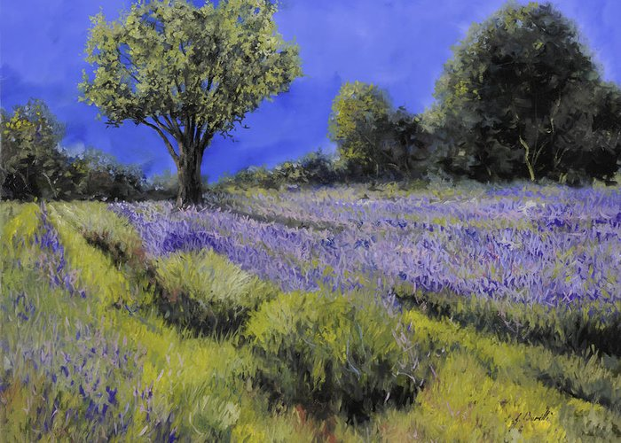 Lavender Greeting Card featuring the painting Il Campo Di Lavanda by Guido Borelli