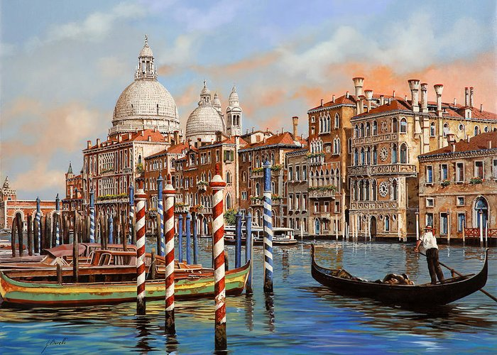 Venice Greeting Card featuring the painting Il Canal Grande by Guido Borelli