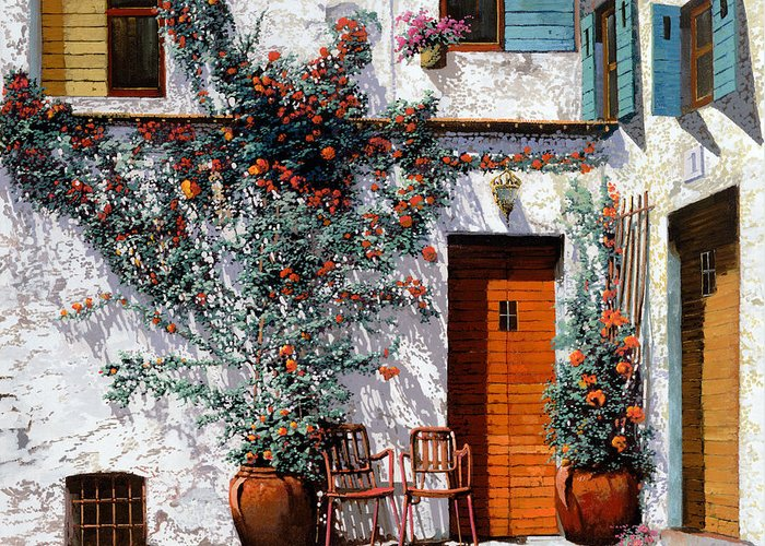 Courtyard Greeting Card featuring the painting Il Cortile Bianco by Guido Borelli