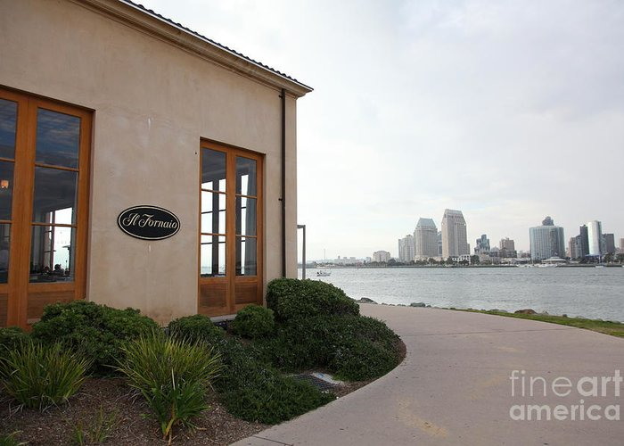 San Diego Greeting Card featuring the photograph Il Fornaio Italian Restaurant In Coronado California Overlooking The San Diego Skyline 5d24364 by Wingsdomain Art and Photography