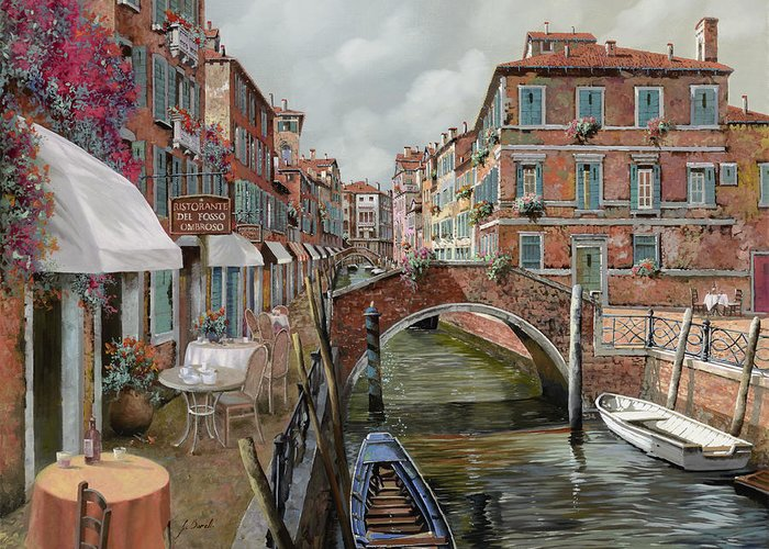 Venice Greeting Card featuring the painting Il Fosso Ombroso by Guido Borelli