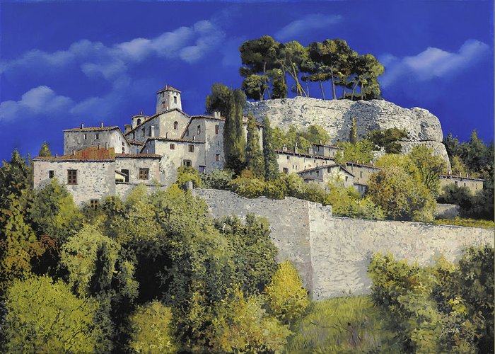 Blue Village Greeting Card featuring the painting Il Villaggio In Blu by Guido Borelli