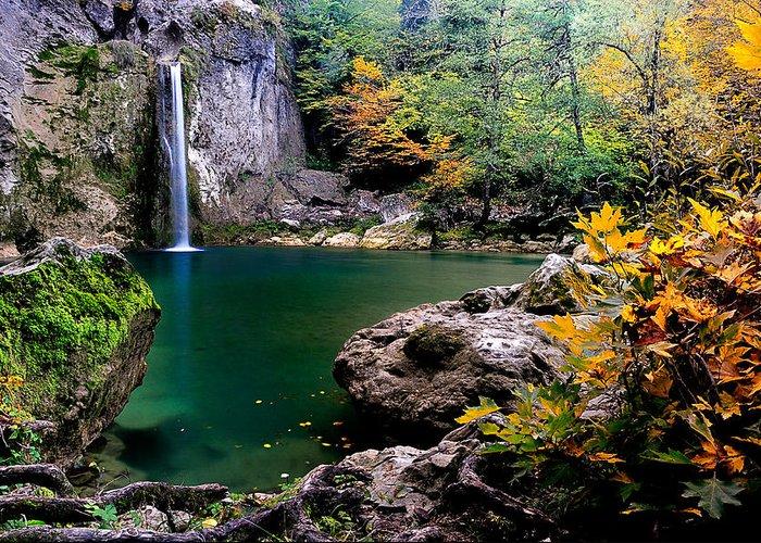 Waterfall Greeting Card featuring the photograph Ilica Waterfall - 2 by Okan YILMAZ