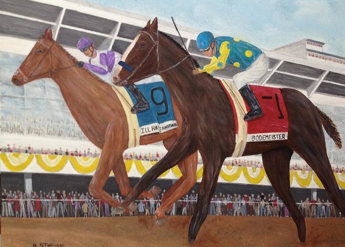 Horse Greeting Card featuring the painting I'll Have Another Wins Preakness by Glenn Stallings