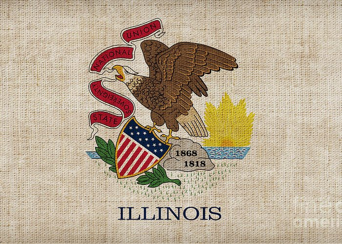 Illinois Greeting Card featuring the painting Illinois State Flag by Pixel Chimp