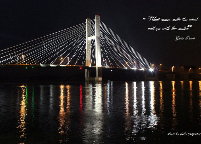 Bridge Greeting Card featuring the photograph Illuminated Night by Holly Carpenter