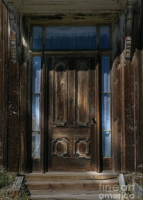 Door Greeting Card featuring the photograph Illuminating The Past - Bodie by Sandra Bronstein