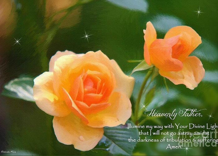 Peach Rose Greeting Card featuring the digital art Illumine My Way by Belinda Rose