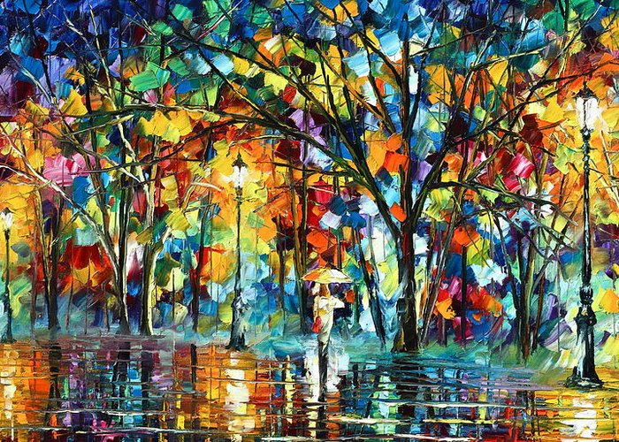 Park Greeting Card featuring the painting Illusion by Leonid Afremov