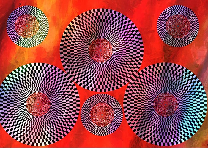 Optical Illusions Greeting Card featuring the painting Illusions by Ally White