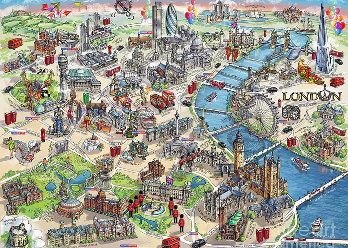 Illustrated Map Of London Greeting Card on historical map of london, art map of london, painted map of london, business map of london, black map of london, color map of london, interactive map of london, simple map of london, watercolor of london, graphic map of london, travel map of london, childrens map of london,