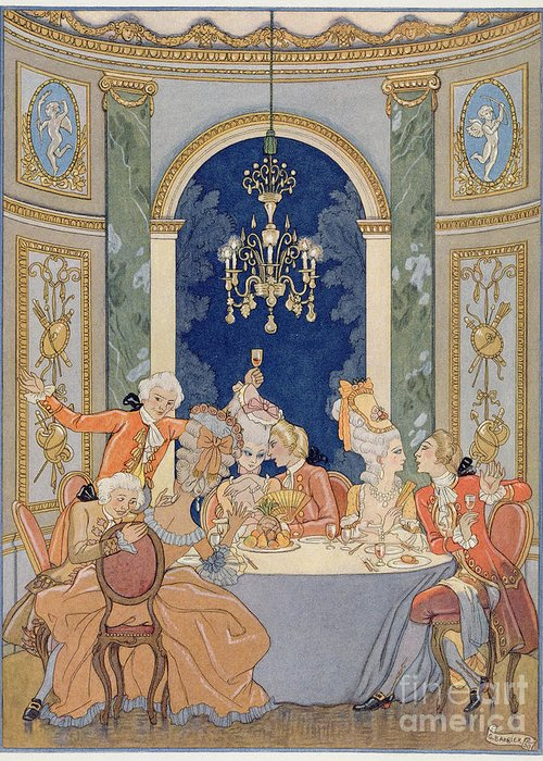 Dangerous Liaisons Greeting Card featuring the painting Illustration From 'les Liaisons Dangereuses' by Georges Barbier