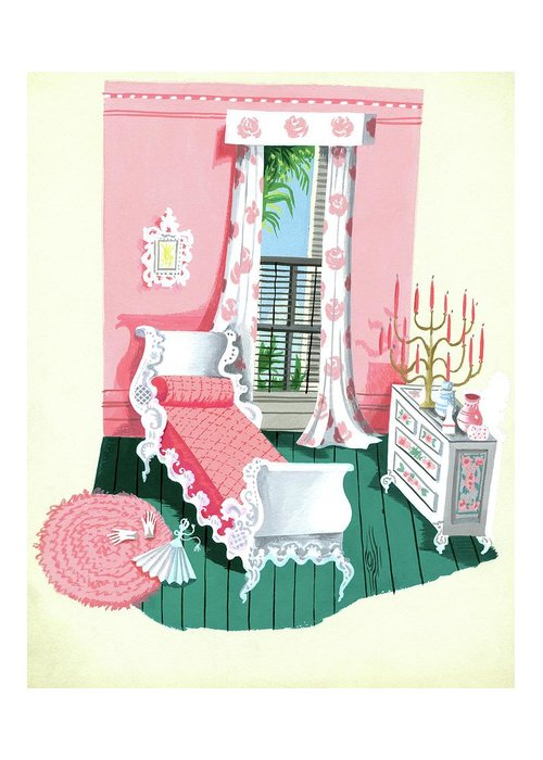 Bedroom Greeting Card featuring the digital art Illustration Of A Victorian Style Pink And Green by Edna Eicke