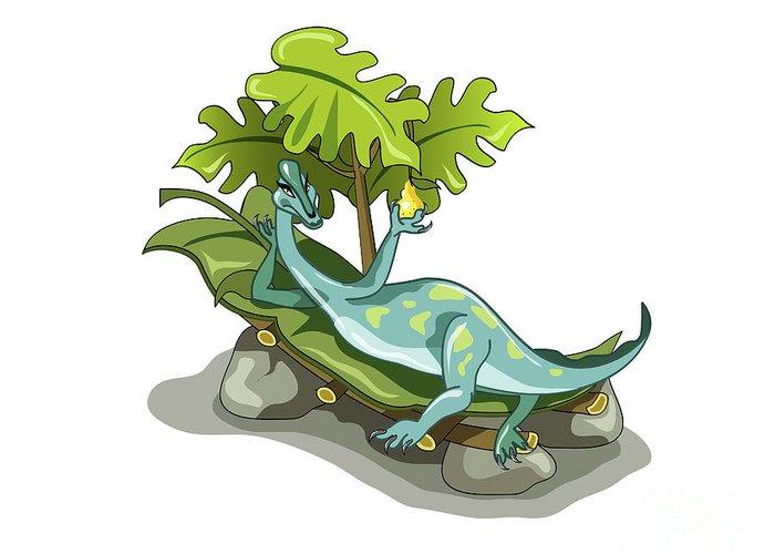 Horizontal Greeting Card featuring the digital art Illustration Of An Iguanodon Sunbathing by Stocktrek Images