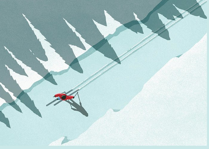 Ski Pole Greeting Card featuring the digital art Illustration Of Man Skiing During by Malte Mueller