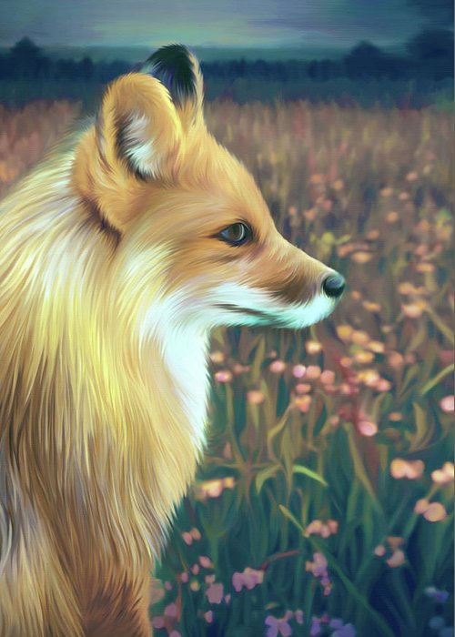 Grass Greeting Card featuring the digital art Illustration Of Red Fox by Illustration By Shannon Posedenti