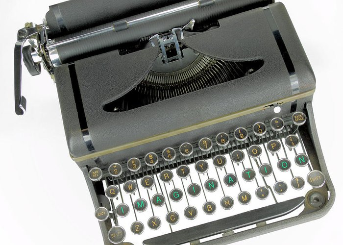 Communication Greeting Card featuring the photograph Imagination Typewriter by Rudy Umans