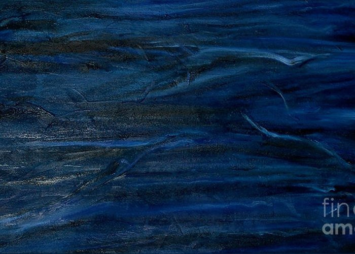 Abstract Greeting Card featuring the painting Immense Blue by Silvana Abel