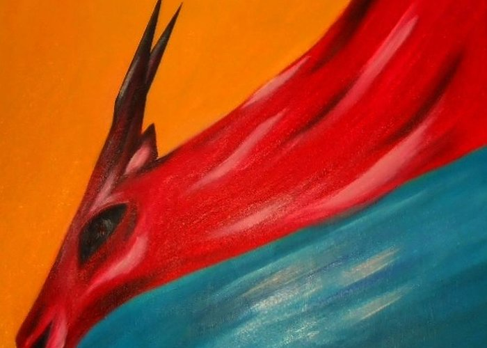 Nature Greeting Card featuring the painting Impala in red by Joseph Ferguson