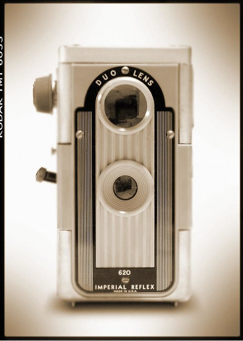 620 Film Camera Greeting Card featuring the photograph Imperial Reflex Camera by Mike McGlothlen