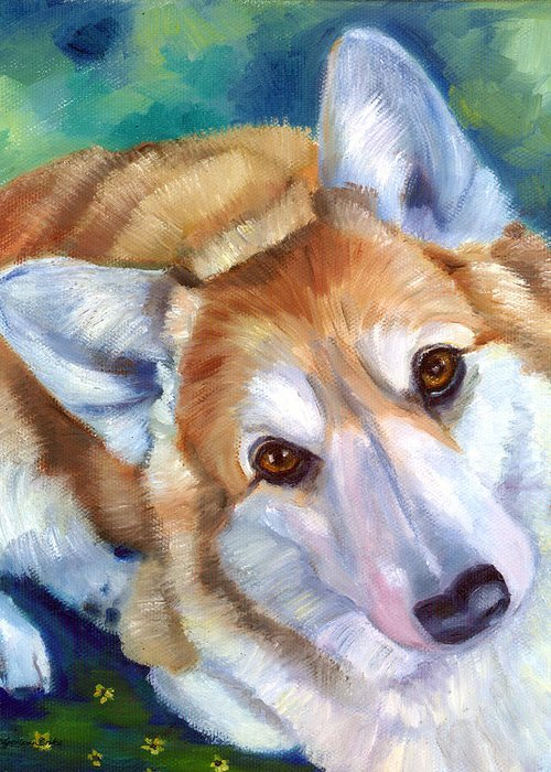 Pembroke Welsh Corgi Greeting Card featuring the painting Imploring Look by Lyn Cook
