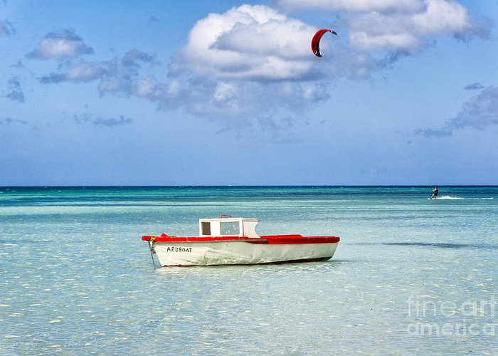Anchored Greeting Card featuring the photograph Impression Of Aruba by George Oze