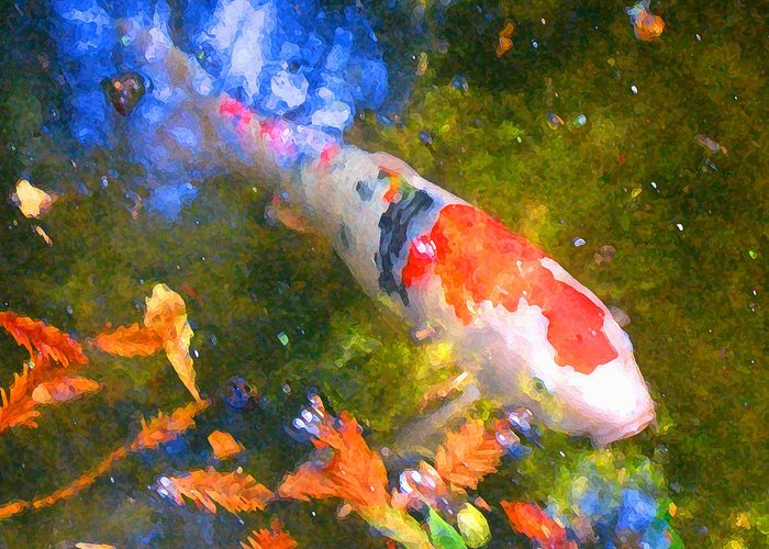 Fish Greeting Card featuring the painting Impressionism Koi 2 by Amy Vangsgard