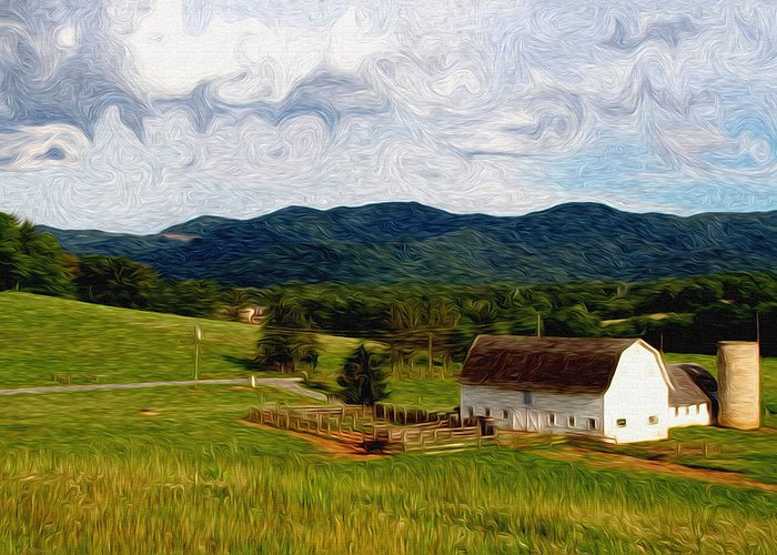 Farm Greeting Card featuring the painting Impressionist Farming by John Haldane