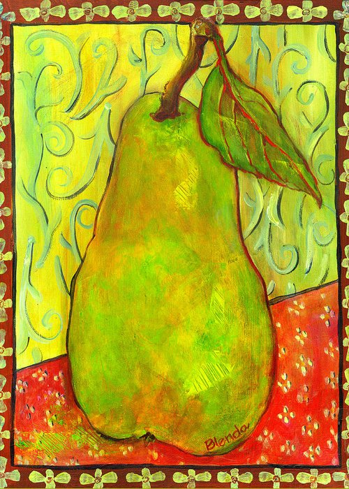 Food Greeting Card featuring the painting Impressionist Style Pear by Blenda Studio