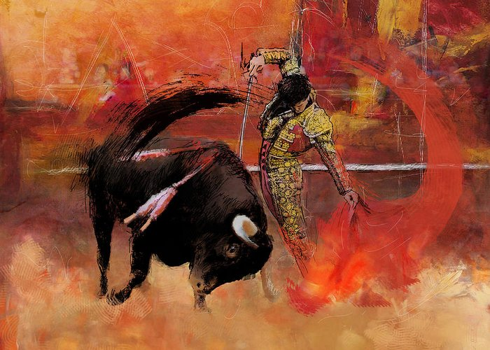 Bullfighting Greeting Card featuring the painting Impressionistic Bullfighting by Corporate Art Task Force