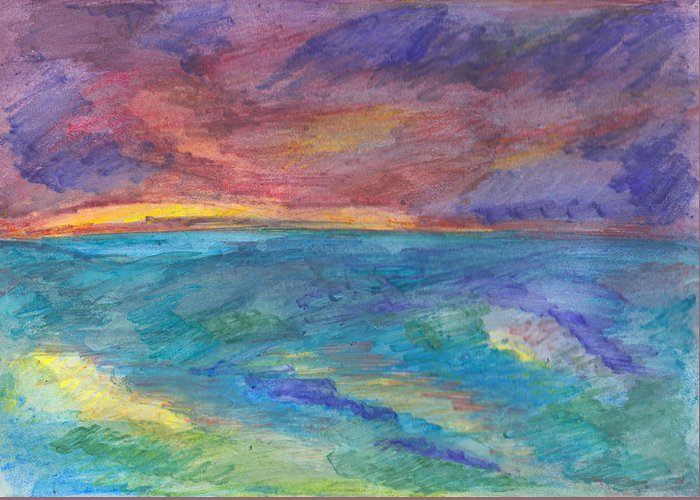 Seascape Greeting Card featuring the painting Impressions Of The Sea 1 by Wendy Le Ber