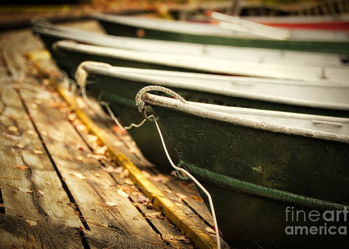 Boat Pictures Greeting Card featuring the photograph In A Line by Todd Bielby