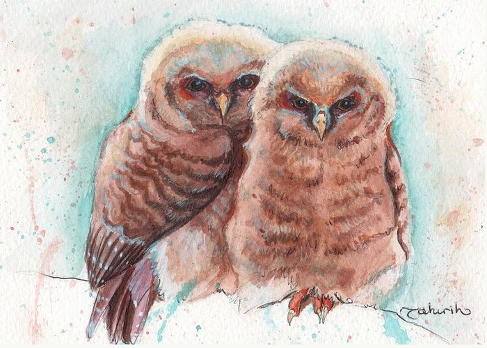 Wildlife Greeting Card featuring the painting In Cahoots by Tahirih Goffic