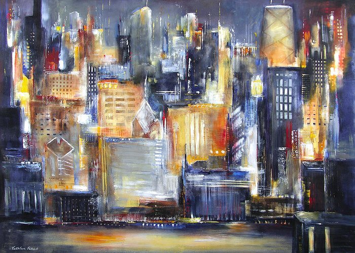 Chicago Skyline Greeting Card featuring the In Chicago Tonight by Kathleen Patrick