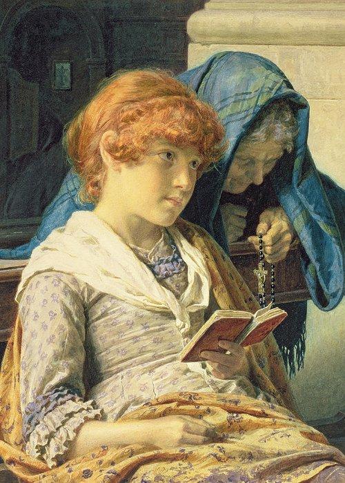 In Church Greeting Card featuring the painting In Church by Luigi da Rios