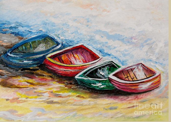 Boat Greeting Card featuring the painting In From The Sea by Eloise Schneider
