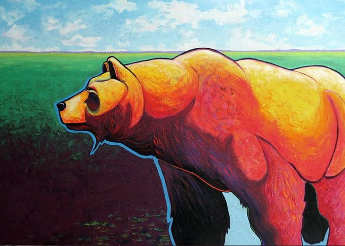 Grizzly Bear Greeting Card featuring the painting In His Prime by Joe Triano